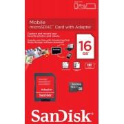 Cartão de Memória Micro-SDHC 16GB - c/ Adaptador SD - SanDisk