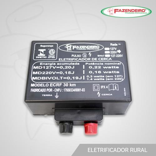 Eletrificador Rural 30 Km Fazendeiro - Selo do INMETRO