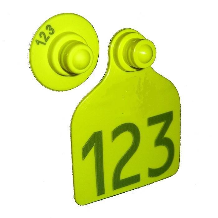 Caixa 25 Cj Brinco POLITE Grande e Boton Numerados para Manejo de Gado e Machos com Ponta Metalica