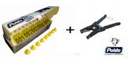 Kit Caixa com 50 Cj Brinco Grande Bovino Numerado para Manejo de Gado e Macho com Ponta Metalica + Alicate Aplicador de Nylon