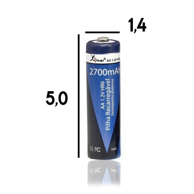 12 Pilhas Recarregáveis AA 2700 mAh 1,2V NiMH Pequena Knup KP-4800AA Lacrado Novo Original
