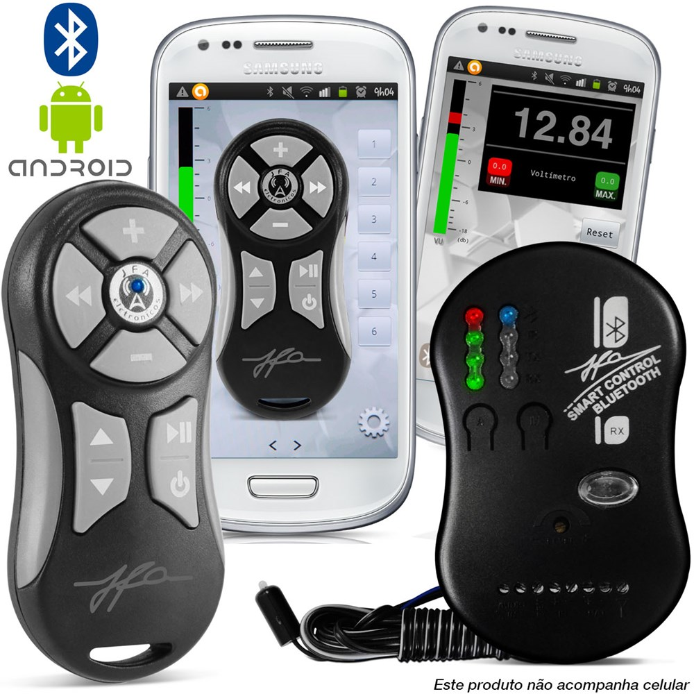 Controle Som Automotivo Jfa Smart Bluetooth Prata  - BEST SALE SHOP