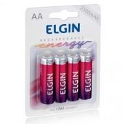4 Pilhas Recarregáveis Elgin AA 2500 mAh 1,2V Lacrado Novo Original