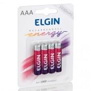 4 Pilhas Recarregáveis Elgin AAA 1000 mAh 1,2V Palito Lacrado Novo Original