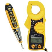 Alicate Amperímetro Digital MT87 + Caneta Detectora Tensão e Corrente Teste Energia CNTT-D10