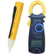 Alicate Amperímetro Digital Portátil MD-Y400 + Caneta Teste Detectora Tensão Energia Fase PZ-1AC-D