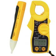 Alicate Amperímetro Digital Portátil MT87 + Caneta Teste Detectora Tensão Energia Fase PZ-1AC-D