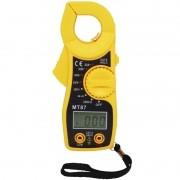 Alicate Amperímetro Digital Profissional AC DC com Cabo Multi Prova MT87 Amarelo