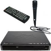Aparelho Dvd Player Hdmi Hd 5.1 Rca Usb Mp3 Função Karaoke + Microfone Knup KP-D112 Preto Bivolt