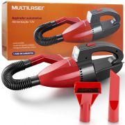 Aspirador de Pó e Líquido Automotivo Portátil Carro Mini 12V 60W Multilaser AU607 Preto/Vermelho