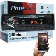 Auto Rádio Som Mp3 Player Automotivo Carro Bluetooth First Option 6680BS Fm Sd Usb Aux
