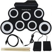 Bateria Eletrônica Musical Portátil Silicone Digital Drum 7 Pads 2 Pedais Baqueta IW-G3002 Preta