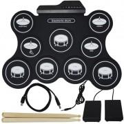 Bateria Elêtronica Musical Portátil Silicone Digital Drum 9 Pads 2 Pedais Baqueta IW-4009 Preta