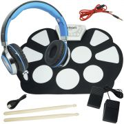Bateria Eletrônica Musical Silicone Digital 10 Pads 2 Pedais Baqueta EMT-S9 com Headfone Preto Azul