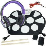 Bateria Eletrônica Musical Silicone Digital 10 Pads 2 Pedais Baqueta EMT-S9 com Headfone Preto Roxo