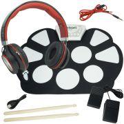 Bateria Eletrônica Musical Silicone Digital 10 Pads 2 Pedais Baqueta EMT-S9 Headfone Preto Vermelho