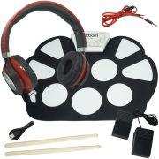 Bateria Eletrônica Musical Silicone Digital 10 Pads 2 Pedais Baqueta EMT-S9 Headfone Vermelho Preto