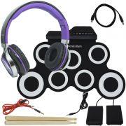 Bateria Eletrônica Musical Silicone Digital 7 Pads 2 Pedais Baqueta IW-G3002 com Headfone Preto Roxo