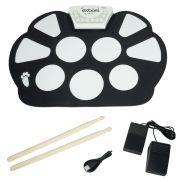 Bateria Elêtronica Musical Silicone Digital Roll Up Drum Kit 10 Pads 2 Pedais Baqueta Exbom EMT-S9