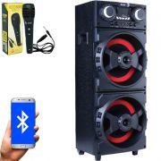 Caixa Som Amplificada Bluetooth 1000W Rms Mp3 Fm Usb Sd Aux Led Bivolt ACA 1001 Preta + 1 Microfone