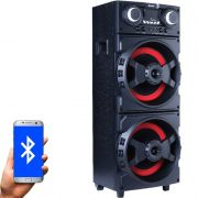 Caixa Som Amplificada Bluetooth 1000W Rms Mp3 Fm Usb Sd Aux Led Bivolt Amvox ACA 1001 Preta