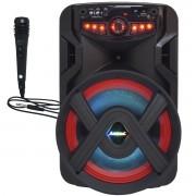Caixa Som Amplificada Portátil Bluetooth 250W Rms Mp3 Usb Led Tws ACA 250 Groove Microfone