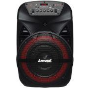 Caixa Som Amplificada Portátil Bluetooth 280W Rms Mp3 Fm Usb Aux Led Bateria Tws Amvox ACA 280 BLACK
