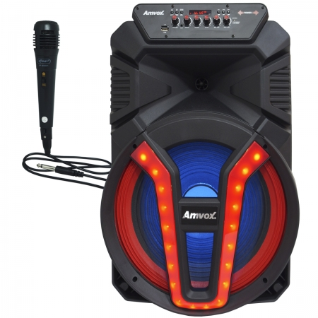 Caixa Som Amplificada Portátil Bluetooth 700W Rms Mp3 Usb Led Tws ACA 780 Vulcano Microfone