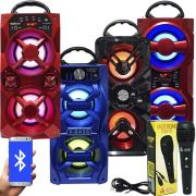 Caixa Som Amplificada Portátil Bluetooth Mp3 Fm Usb Sd Aux Bateria 10W Rms + 1 Microfone