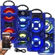 Caixa Som Amplificada Portátil Bluetooth Mp3 Fm Usb Sd Aux Bateria 10W Rms Exbom Azul