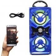 Caixa Som Amplificada Portátil Bluetooth Mp3 Fm Usb Sd Aux Bateria 10W Rms Exbom Azul CS-M435BT