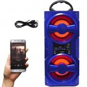 Caixa Som Amplificada Portátil Bluetooth Mp3 Fm Usb Sd Aux Bateria 10W Rms Exbom Azul CS-M437BT