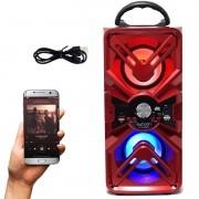 Caixa Som Amplificada Portátil Bluetooth Mp3 Fm Usb Sd Aux Bateria 10W Rms Exbom Vermelha CS-M435BT