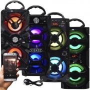 Caixa Som Amplificada Portátil Bluetooth Mp3 Fm Usb Sd Aux Bateria 10W Rms Exbom Preta