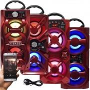 Caixa Som Amplificada Portátil Bluetooth Mp3 Fm Usb Sd Aux Bateria 10W Rms Exbom Vermelha