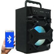 Caixa Som Amplificada Portátil Bluetooth Mp3 Fm Usb Sd Aux Bateria 5W Rms Led Rgb KTS-943A Preta