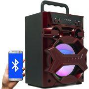 Caixa Som Amplificada Portátil Bluetooth Mp3 Fm Usb Sd Aux Bateria 5W Rms Led Rgb KTS-943A Vermelha