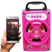 Caixa Som Amplificada Portátil Bluetooth Mp3 Fm Usb Sd Aux Bateria 5W Rms ZYG-518 Rosa