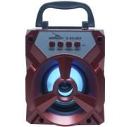 Caixa Som Amplificada Portátil Bluetooth Tws Mp3 Fm Usb Aux Bateria 8W Rms Grasep D-BH1064 Vermelha