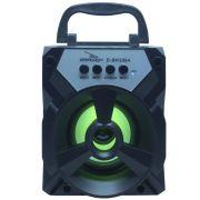 Caixa Som Amplificada Portátil Bluetooth Tws Mp3 Fm Usb Aux Sd Bateria 8W Rms Grasep D-BH1064 Preta