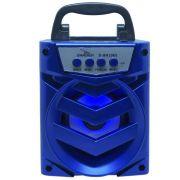 Caixa Som Amplificada Portátil Bluetooth Tws Mp3 Fm Usb Aux Sd Bateria 8W Rms Grasep D-BH1065 Azul