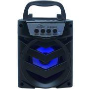 Caixa Som Amplificada Portátil Bluetooth Tws Mp3 Fm Usb Aux Sd Bateria 8W Rms Grasep D-BH1065 Preta