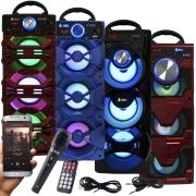 Caixa Som Portátil Bluetooth Amplificada Mp3 Fm Usb Sd Microfone Bateria 18W Rms Infokit