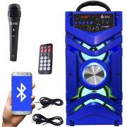Caixa Som Portátil Bluetooth Mp3 Fm Usb Sd Aux Microfone Bateria 12W Rms Infokit Azul VC-M866BT