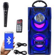 Caixa Som Portátil Bluetooth Mp3 Fm Usb Sd Aux Microfone Bateria 12W Rms Infokit Azul VC-M867BT