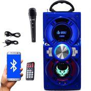 Caixa Som Portátil Bluetooth Mp3 Fm Usb Sd Aux Microfone Bateria 12W Rms Infokit Azul VC-M874BT