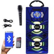 Caixa Som Portátil Bluetooth Mp3 Fm Usb Sd Aux Microfone Bateria 12W Rms Infokit Azul VC-M875QBT