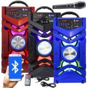 Caixa Som Portátil Bluetooth Mp3 Fm Usb Sd Aux Microfone Bateria 12W Rms Infokit VC-M866BT