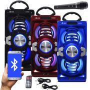 Caixa Som Portátil Bluetooth Mp3 Fm Usb Sd Aux Microfone Bateria 12W Rms Infokit VC-M873BT