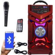 Caixa Som Portátil Bluetooth Mp3 Fm Usb Sd Aux Microfone Bateria 12W Rms Infokit Vermelha VC-M866BT